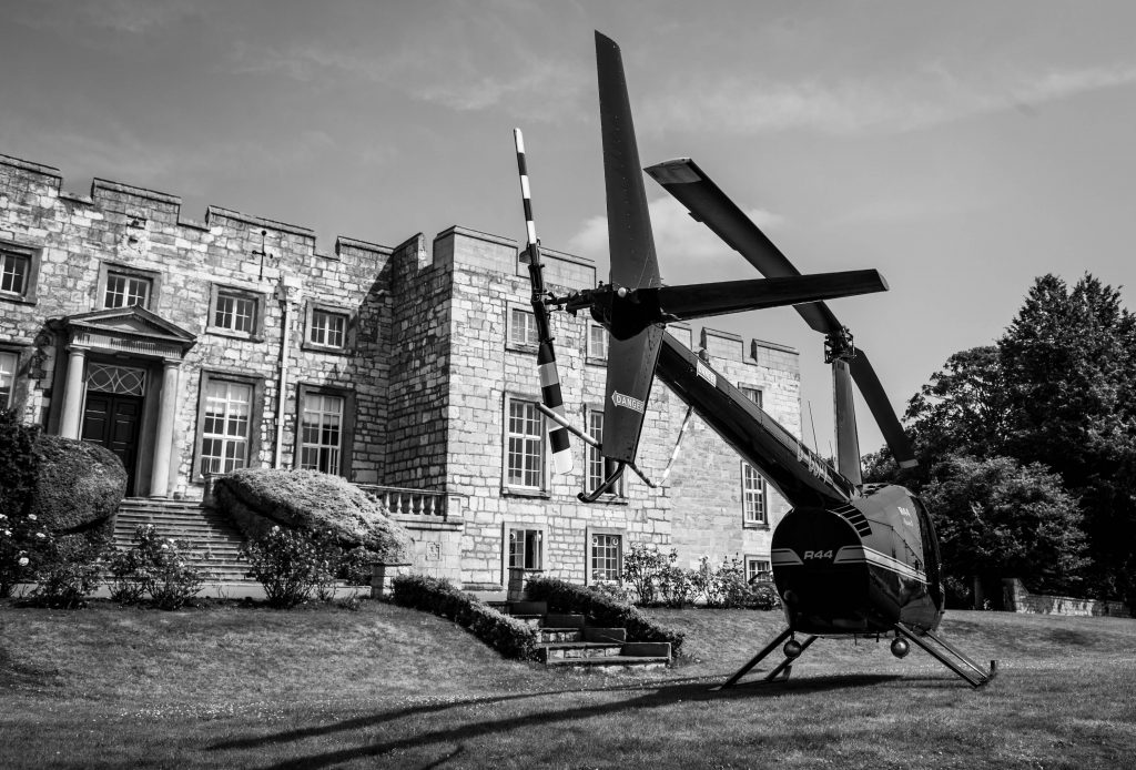 Helicopter at Hazlewood Castle