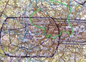 The route taken in the YouTube video through the London Heli Lanes
